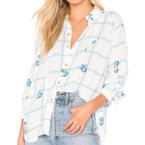 Free People Window To My Heart Blue Floral Shirt